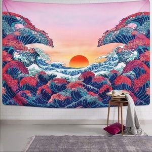 Aesthetic Ocean Waves Tapestry